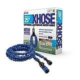 The Official XHose Expanding Garden Hose Pipe with BONUS adaptor, 25ft, Blue