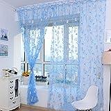 Tongshi Ventas calientes! Impresión caliente cortina floral Pantallas dormitorio principal cortina 200x100cm (azul)