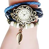 Fashion Watches ,Women Children Retro LeatherWinding Bracelet Leaf Pendant Watch (one, Blue)