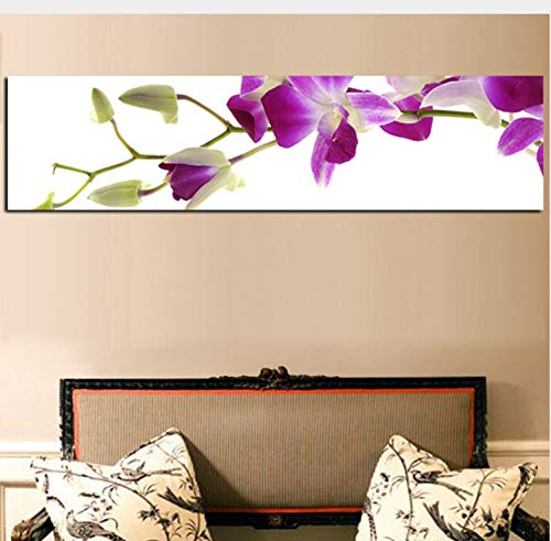 haoxinbaihuo Hd Druck Lila Orchidee Blume Ölgemälde Auf Leinwand Günstige Pop Art Poster Wandbild Für Wohnzimmer Moderne Cuadros Decoracion 25 * 100 cm