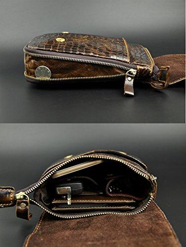 Männer Leder Hüfttasche Reiten Sport Kleine Bein Tasche Taille Packen Messenger Schulter Beutel 611-13 crocodile