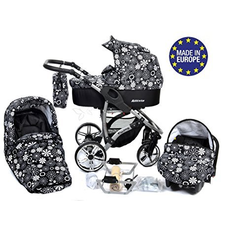 ALLIVIO, 3-in-1 Travel System with Baby Pram, Car Seat, Pushchair & Accessories, Black & Flowers 51pWWC041qL