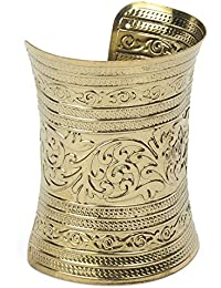 Shining Diva Fashion Carved Gold-Toned Metallic Hand Cuff Bracelet For Girls