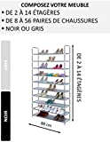Nalian Schuhregal, 2 bis 14 Regale (für 8 bis 56 Paar Schuhe), Breite: 88 cm – Grau oder Schwarz – Schuhschrank, Stoff, grau, 14 étagères