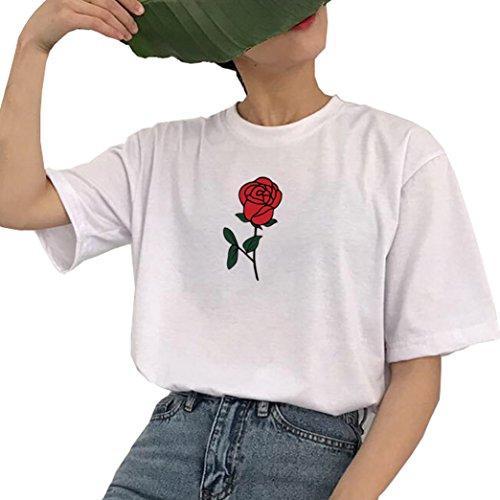 Yeesea Donna Maglietta Camicetta Cotone Casual Maniche Corte T-Shirt Tops Bianco