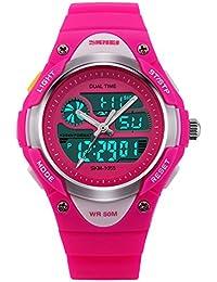 amstt niña Sport niños relojes Niño Niña digital impermeable alarma reloj de  pulsera para el Edad 6cef4dea490f