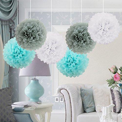 Addobbi Matrimonio Azzurro : Cm pompon in carta velina bianco grigio e azzurro pon pon di