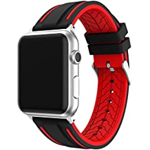 LeeHur Correa Apple Watch 42mm Series 1 / 2 / 3 Ajustable y Transpirable, Correa de Reemplazo Silicona Suave con Hebilla Flexible para Reloj iWatch, Banda con Estilo Deportivo, Sport Band para Apple Watch, Negro y rojo