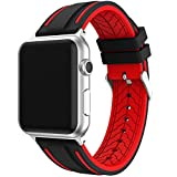 Correa Apple Watch 42mm Series 1 / 2 / 3 Ajustable y Transpirable, IvyLife Correa de Reemplazo Silicona Suave para Reloj iWatch, Banda con Estilo Deportivo, Sport Band para Apple Watch, Negro y rojo