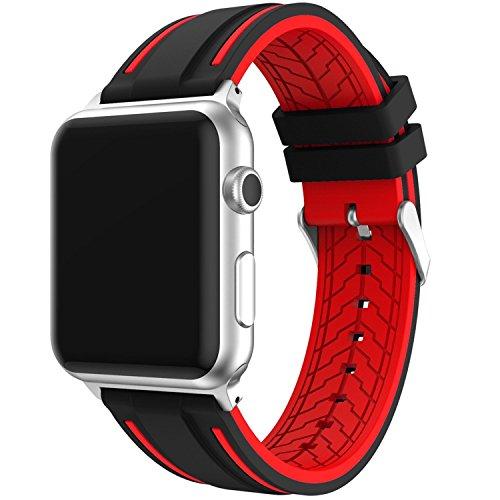 Correa Apple Watch 42mm Series 1 / 2 / 3 Ajustable y Transpirable, IvyLife Correa de Reemplazo Silicona Suave para Reloj iWatch, Banda con Estilo Deportivo, Sport Band para Apple Watch, Negro y rojo