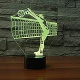 Qliyt 3D Volleyball Net Nachtlicht Led Bunte Touch-Taste Schreibtischlampe Sport Schlafzimmer Dekor Usb Schlaf Beleuchtung Geschenke - Fernbedienung Und Touch
