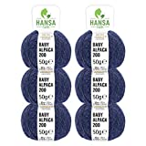 100% Alpakawolle in 50+ Farben (kratzfrei) - 300g Set (6 x 50g) - weiche Baby Alpaka Wolle zum Stricken & Häkeln in 6 Garnstärken by Hansa-Farm - Dunkelblau Heather (Blau)