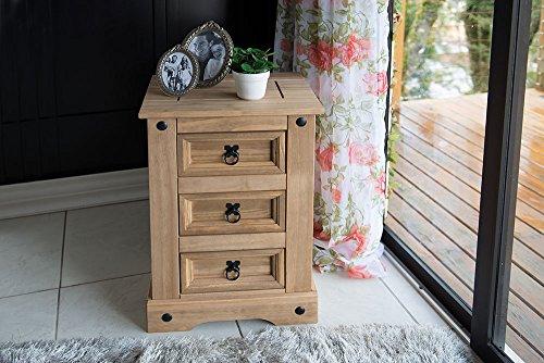 SAM® Mesita de noche Santa Fe, mueble de estilo mexicano, mesilla de madera maciza en pino encerado, tres cajones