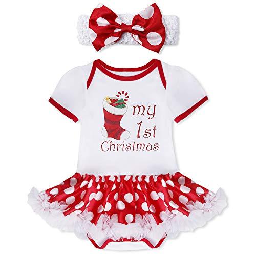 YiZYiF 2tlg. Baby Mädchen Kleid Weihnachten Bekleidung Set Strampler Tütü Bodys + Kopfband 0-12 Monate #1 Weihnachtssocke 9-12 Monate