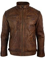 Veste marron en véritable cuir lisse vielli pour homme avec fermeture éclair style motard retro décontracté