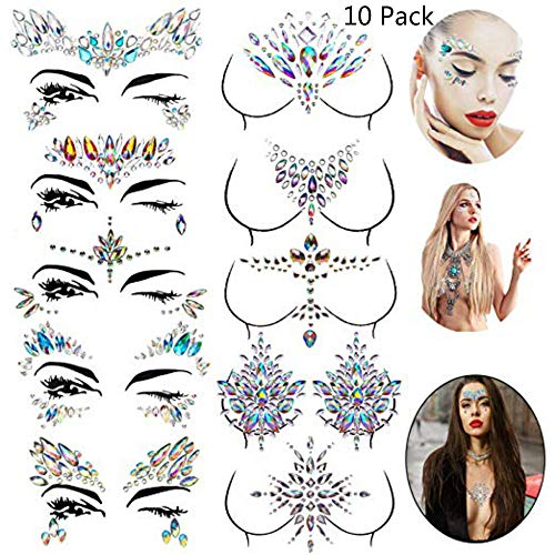 Xinqin Ding Gesicht Edelsteine Aufkleber 10 Stück Brust Körperschmuck Aufkleber Kristall Nippel Temporäre Tattoos Aufkleber für Festival Strass Dekorationen, Festival Rave Halloween, Parties, Make-up