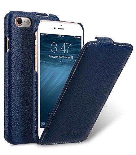 MELCKO Edle Tasche für Apple iPhone 8 und iPhone 7 (4.7 Zoll), Case Außenseite aus beschichtetem Leder, Schutz-Hülle aufklappbar, Flip-Case, ultra-slim Cover, Etui, Blau