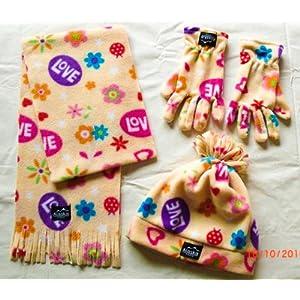 """ALASKA Fleece 3 tlg Kinder-Winter-Spaß-Set für Kinder mit Mütze, Handschuhe und Schal in Gelb mit """"LOVE"""", Herzen und Blumen"""