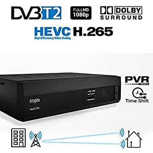 Crypto Redi 270P 1080P Full HD 1080P DVB-T2 HEVC H.265 décodeur TNT HD avec Dolby, Full Multimédia Lecteur H.265 / MPEG-2/4
