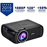 Everycom X7 LED Projector Full HD 1080P Supported, Compatible with Smartphone, TV Stick, USB , HDMI, VGA, AV, Home Theatre [ 2019 Upgrade ]