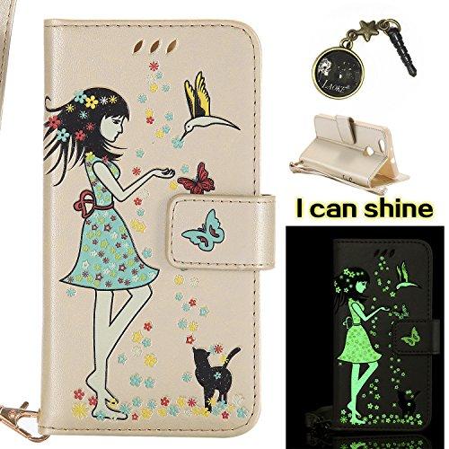 Preisvergleich Produktbild für Huawei Nova Hülle Flip-Case Premium Kunstleder Tasche im Bookstyle Klapphülle mit Weiche Silikon Handyhalter Lederhülle für Huawei Nova Luminous Mädchen Katze case Hülle +Stöpsel Staubschutz (1)