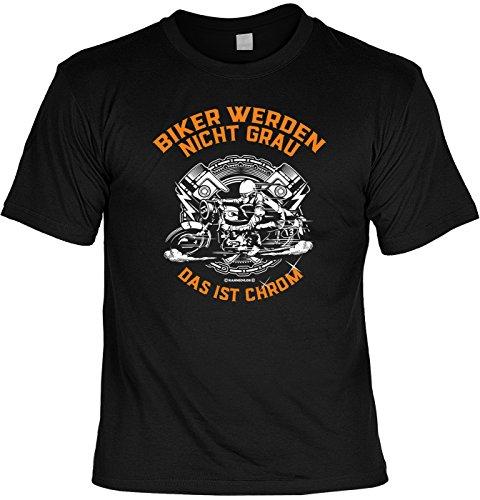 T-Shirt - Biker Werden Nicht Grau - Das ist Chrom - Lustiges Sprüche Shirt Als Geschenk für Motorradfahrer mit Humor (Motorrad Biker Baumwolle)