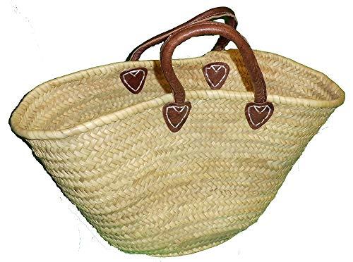 Petit sac de courses palmier avec poignées en cuir