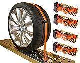 4 x Spanngurte Autotransport 3000 daN / 2,5m / 35 mm orange Radsicherung Reifengurt Zurrgurte PKW Radsicherungsgurt DIN EN 12195-2 Auto Transport