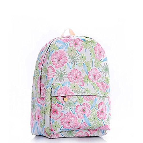 Stampa Zaino Floreale Zaino Canvas Zaino Coolpack Daypack Scuola Borsa Universale Bag Daypack per Donne Ladies Girls Fiore rosa e blu