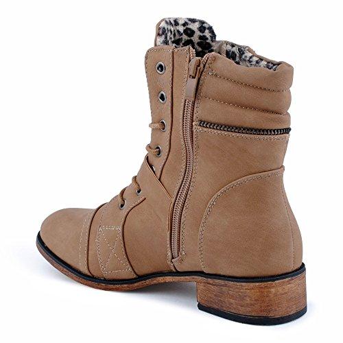 Damen Stiefeletten Stiefel Nieten Schnalle Blockabsatz Schnür Biker Boots Schuhe Khaki