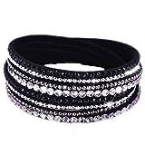 fabulous Armband Wrap Kaskade Slake Strasssteine Brillant Kristall Leder Wildleder schwarz