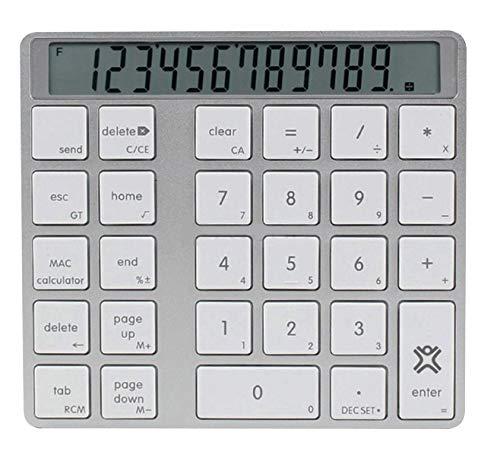 XtremeMac XMNUMBTCAL Universal Bluetooth Nummernblock mit Display für iMacs, MacBooks, PC, Laptop, Tastatur mit Rechner & Display, Kabellos, Wireless Taschenrechner Silber