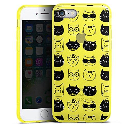Apple iPhone 8 Silikon Hülle Case Schutzhülle Katzen ohne Hintergrund Cats Silikon Colour Case gelb