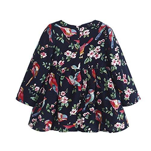 3-7 Jahr Kleinkind Kinder Prinzessin Kleid, DoraMe Baby Mädchen Floral Vogel Pageant Party Kleid Kleidung Lange Ärmel Dickes Kaschmir O-Ausschnitt Kleid (Marine, 4 Jahr) (Marine-kaschmir-mischung)