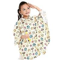 Highdas Children Cute Cartoon Hooded Poncho Cape-style Raincoat for Students (Beige Owl) XXL/150-165