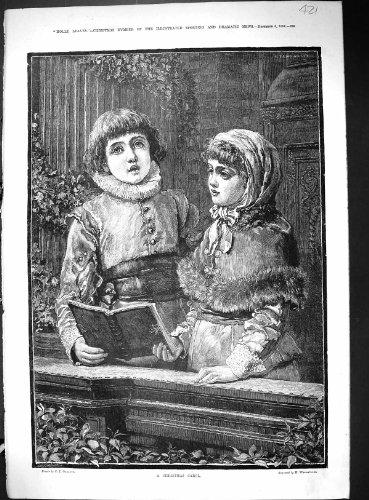 Bambini 1884 della canzone di natale che cantano la stampa dell'oggetto d'antiquariato della chiesa