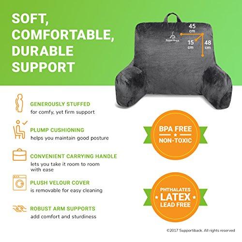 Supportiback - Almohada terapéutica para lectura | Súper rellena para la comodidad y la postura correcta, con funda lavable, asa para transporte, apoyos rígidos para los brazos
