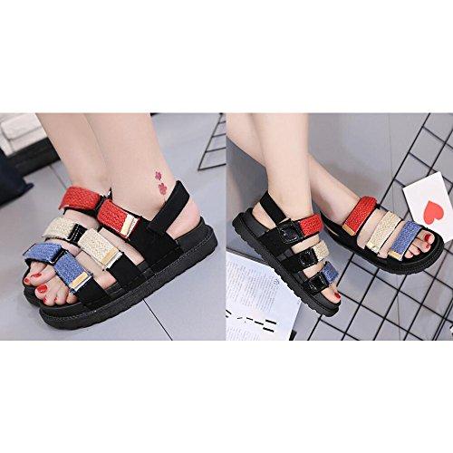 Eastlion Streifen Magische Aufkleber Weibliche Studenten Sandalen Sommer Freiliegende Zehe Dicke untere Sandalen Stil 1 Rot