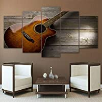 ZTTPCP 100x55cm Modular HD Printed Canvas Wall Art 5 Pieces Classical Guitar Music Painting Home Decor Poster For Living Room
