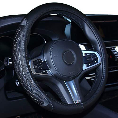 Preisvergleich Produktbild 2019 Coole Auto Lenkradabdeckung Komfort Haltbarkeit Sicherheit für Männer (schwarz)