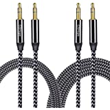 CSHope Audio Cable CSHope 3.5mm 2Pack Male To Male Nylon Braided Auxiliary Aux Stereo Cable (Black With Grey 10ft + 3.3ft)