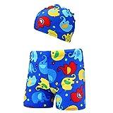 Julhold 2Pcs Kinder Baby Jungen Mode Stretch Strand Badeanzug Polyester Badehose Shorts + Hut Set Sommer 2-6 Jahre Neu