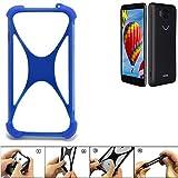 K-S-Trade Handyhülle für Vestel V3 5580 Silikon Schutz Hülle Cover Case Bumper Silikoncase TPU Softcase Schutzhülle Smartphone Stoßschutz, blau (1x)