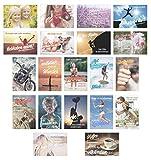 Set 20 Postkarten mit Sprüchen - Karten mit Spruch - Geschenkidee - Dekoidee - Liebe, Freundschaft, Leben, Motivation, lustig – Postcrossing - Geburtstagskarten