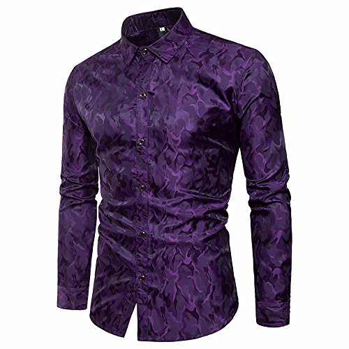 Strungten Herren Hawaiihemd Langärmliges Businesshemd Aloha Freizeit Hemd Button Down Graphic Hemden Shirts Slim Fit glänzende Seide wie Satin Dance Prom Kleid Button Shirt Camouflage Tops Bluse (Männer Shirt Satin-kleid Glänzendes Für)