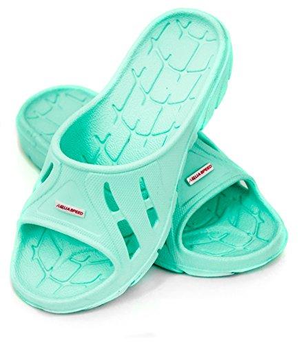 AQUA-SPEED Kinder Badeschuhe Badelatschen Schwimmbadschuhe Alabama 02, minzgrün, 35