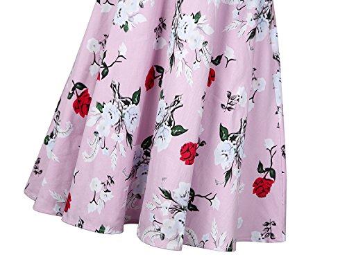 MISSMAO Dame Robe de Rétro Chic Style Vintage années 1950s Audrey Hepburn Rockabilly Tenue de Soirée Coton Rosé