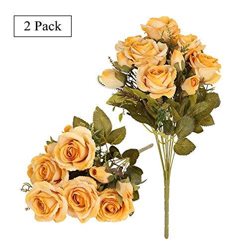 Tifuly mazzi di rose artificiali, 2 pezzi 12 fiori di seta boccioli di rose finte per decorazioni per l'home office, bouquet da sposa, composizione floreale, centrotavola (giallo)