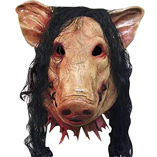 Omiky Halloween Saw Mask Horrible Mask Schwein Gesichtsmaske Maskerade Kostüm Latex Maske Halloween Latex Maske Terrorist Scary Schwein Kopf - Schwein Kopf Kostüm Maske