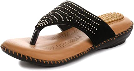 Midsole Women's Embellished Comfortable Footbed Sandals| Ortho Slippers | Doctor Sole- (FT5020C)